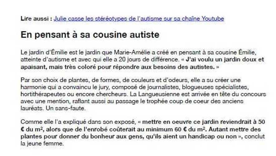 Marie-Amélie JANIN créé un jardin pour les autistes ! ma2