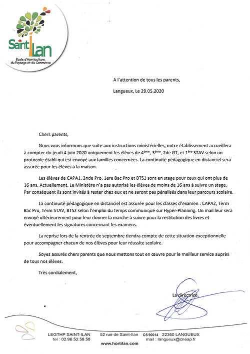 L''école Saint Ilan ouvre le 4 juin courrierdereprise4juinatouslesparents